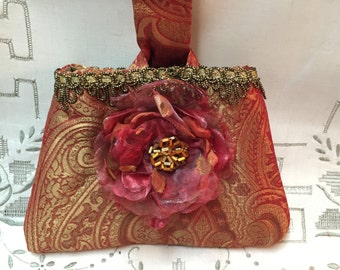 Evening Bag - Formal Silk Wrist Bag - Rosy Chameleon Jacquard with Singed Flower and Vintage Beading - OOAK Wrist Bag
