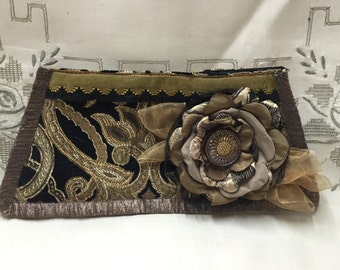 Designer Clutch - Singed Flower -  Chenille Evening Clutch - Black, Putty & Old Gold Evening Bag- Flower and Vintage Button - After Five