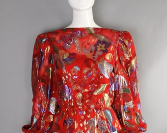80s 70s ARNOLD SCAASI ikat floral lurex silk evening Studio 54 BLOUSE top small vintage 1980s