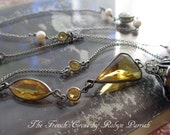 buttercup - vintage art deco necklace yellow golden glass bezels baroque pearl rhinestones lariat chain jewelry