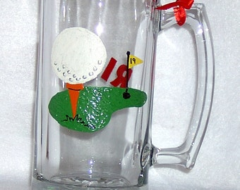 Golfing Personalized Beer Mug Hand Painted
