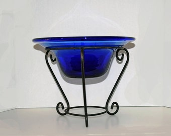 Hand Blown Royal Blue Glass Hat Shaped Bowl With Wrought Iron Stand.