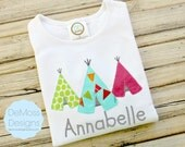 Teepee Shirt, Personalized Appliqued Embroidered, Short or Long Sleeve Shirt,  Totally Custom Colors and Fabrics