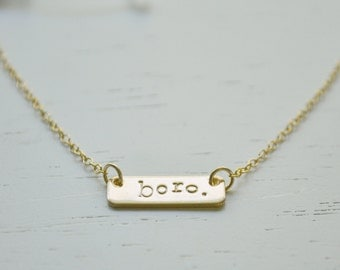 Love Your City Necklace - gold filled bar hand stamped wear your favorite place handmade gift murfreesboro nashville tennessee 615