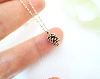Rose gold pine cone necklace, Woodland necklace, Forest necklace, Nature inspired, Nature necklace, Winter necklace, Antique gold necklace