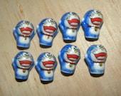 8 Doraemon Blue Cat Porcelain Beads