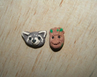 Groot and Rocket Clay Stud Earrings Guardians of the Galaxy