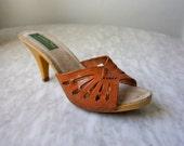 70s Italian Leather peep toe Boho slip on high heels sandals size 8 size 39
