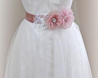 Dusty Rose Bridal Sash, Pink Flower Wedding Belt, Blush Wedding Belt, Silk Organza Flowers - SARAFINA
