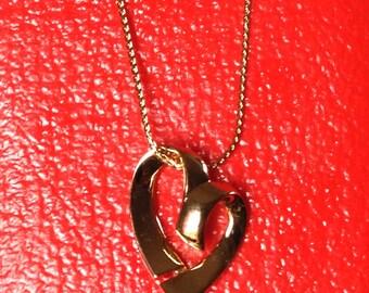 "Vintage 1960s Monet Gold Heart on Fine Chain ""Loverlee"" Original Tag"