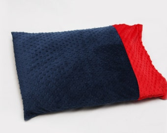 Creat your own Personalizaed Minky Pillowcase - Navy and Red