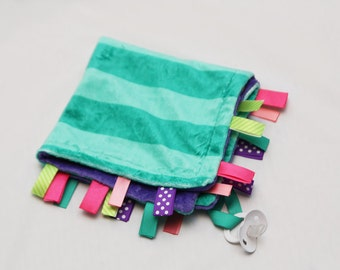 Baby Ribbon Tag Blanket - Minky Binky Blankie - Teal on Teal Stripe with Any color backing