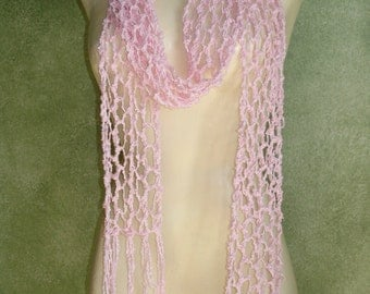 Long BABY PINK Skinny Open Lace Knit Scarf Boho Chic Cotton Wrap
