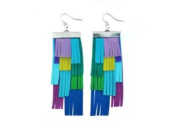 Purple Leather Earrings, Blue Fringe Earrings, Geometric Earrings, Green Fringe Statement Earrings, Geometric Earrings, Leather Jewelry