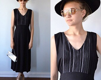 Vintage Black Dress, 1980s Dress, April Cornell, Casual Black Dress, Country Chic, Black Dress, Summer Dress