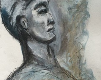 """Art, """"Contemplation"""",  Mixed Media on Paper by  Trish Vernazza"""