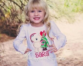 Santa Bear Christmas Tree Shirt - Custom Embroidered Shirt - Girl Shirt - Christmas Girl Shirt