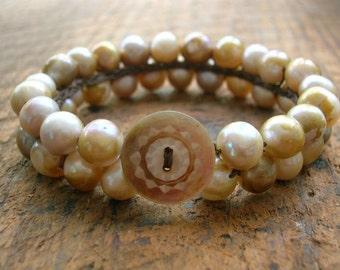Freshwater pearl bracelet - Clara - cuff bracelet, crochet jewelry, flapper, vintage inspired, shabby chic boho bohemian, antique button