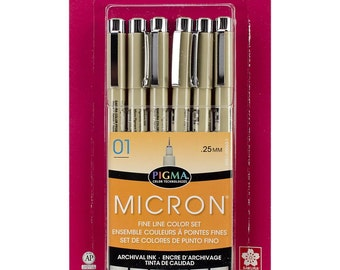 Sakura Pigma Micron Pens 01 .25mm Fine Line Color Set of 6