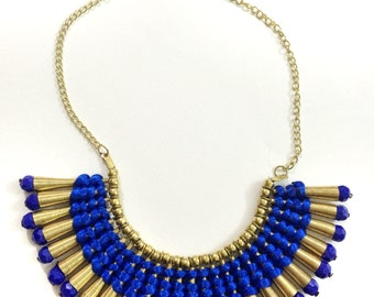 Gold Fringe Necklace,Blue and Gold Bib Necklace,Statement Jewelry,Wedding Jewelry,Fall Statement Necklace by Taneesi