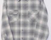 Genuine 50s Pendleton Shirt No Woolmark Grey Plaid Wool Horizontal Button Holes M