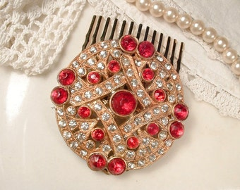 Antique 1920s RUBY Red & Clear Rhinestone Gold Bridal Hair Comb, Small Round Art Deco Dress Clip to Wedding Hair Accessory Gatsby Flapper