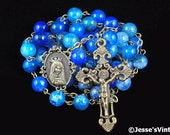 Catholic Rosary Beads Blue Dragon Vein Agate Stone Bronze Traditional Five Decade Unisex