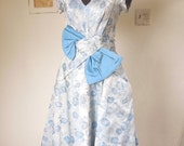 LAST CHANCE SALE... Vintage 60's Cocktail Dress, Party Dress, Light Blue Floral, Rockabilly Style, Size Small