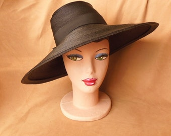 Vintage 40's Black Hat, Large Asymmetrical Straw Pilgrim Hat, Fedora, Sun Hat, RARE Early 1940's