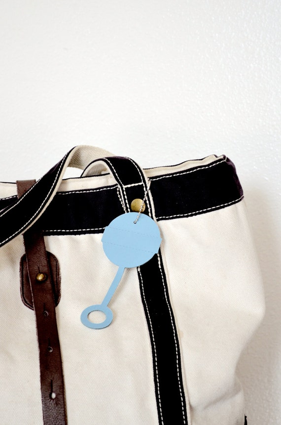 Baby Rattle Shaped Leather Diaper Bag Tag in light blue