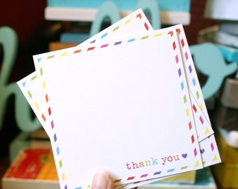 Set of 25 blank 4x4 THANK YOU cards with rainbow border - Shop exclusive