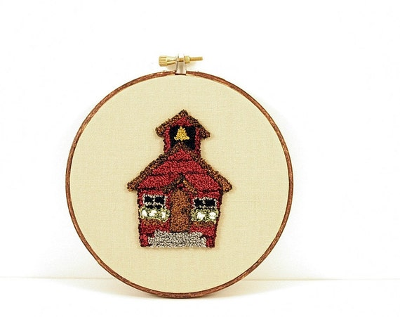 Back to School Little Red School House Punchneedle Embroidery Hoop Wall Art. Teacher Gift, Home Decor. Red, Khaki, Grey, White.