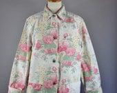 Vintage 90s Women's White Pink Roses Print Ralph Lauren Floral Shabby Chic Canvas Summer Field Work Jacket