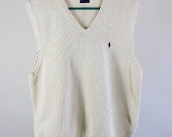 Ralph Lauren Sweater. Polo Sweater. Golf Sweater Vest. Cream Sweater Vest. Vintage. Mens Spring Fall Sweater Vest. Medium. GOGOVINTAGE
