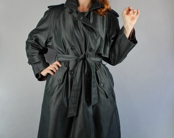 Women's Plus Size Charcoal Trench Coat, Vintage 80s, Spring, Minimal, Professional, Weather Resistant, Gothic, Preppy, Large