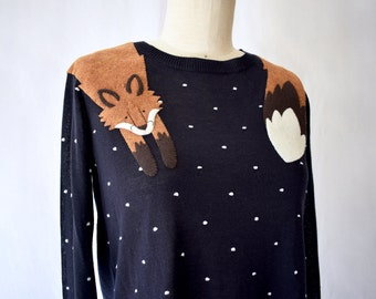 Fox Sweater in Black with Polka Dots/Women's Fall Clothing