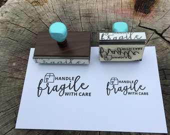 Handle with Care, Fragile, Shipping Stamp, Wooden Rubber Stamp, Robins Egg Blue, Painted Handle, Wooden Stamp, Ship with Care, Fragile Stamp