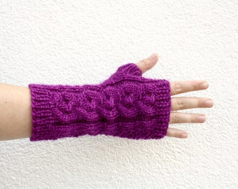 Purple Fingerless Gloves, Hand Knitted Long Gloves with Cable, One of a Kind Womens Gloves, Hand Knit Winter Fashion, College Student Gift