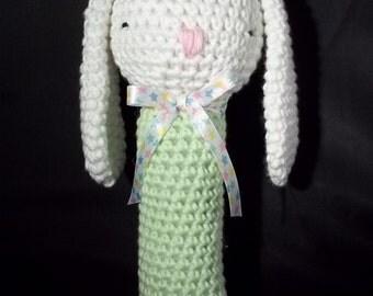Toy - Sleepy Bunny Rattle - White/Green