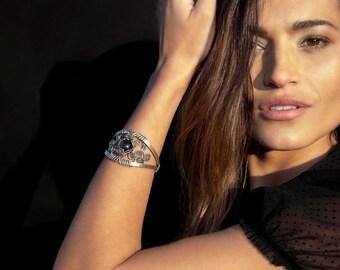 Gemstone Cuff Bracelet, Boho Bracelet, Chunky Bracelet, Wire Wrapped Cuff, Silver Bracelet, Garnet Bracelet, Wide Bracelet