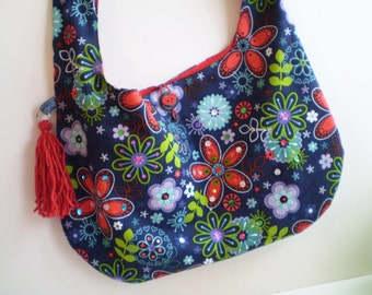 Floral Hobo Bag, Boho Bag, Bohemian Bag, Flower Hobo Bag, Slouchy Flower Bag, Hippie Bag, Navy Flower Bag, 70's Flower Purse