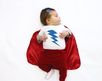 Baby Lightning Bolt Onesie - Ships Fast - Sizes newborn to 24 months - Photo prop - Baby Superhero Costume - New baby gift - Easter Ready