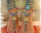 Sunny Lotus PEACE sign BAREFOOT sandals Peace symbol Love Mojo beaded Crochet toe ankle wrap sandal Yoga jewelry Garden wedding GPyoga