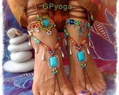 Turquoise Summer BAREFOOT Sandals FESTIVAL sandal Native Cowgirl Boho Chic Statement foot wear Nature Wedding crochet foot jewelry GPyoga