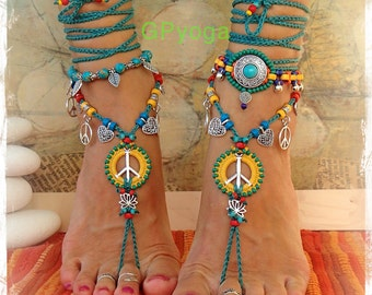 Sunny Lotus PEACE sign BAREFOOT sandals Peace symbol Love Mojo beaded Crochet toe ankle wrap sandal Yoga jewelry Garden wedding GPyoga