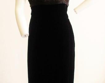 "1950s Black Velvet Illusion Soutache and Beaded Wiggle Dress 28 1/2"" Waist"
