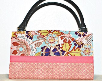 Two Tone Pink and Multicolor Floral Magnetic Bag Shell Cover