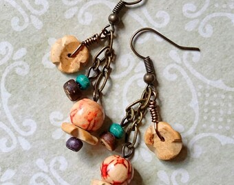 Mountain Breeze - Rustic, Bohemian, Assemblage Earrings
