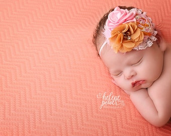 Autumn Darling - pink, pumpkin mustard rosette  and chiffon flower headband bow