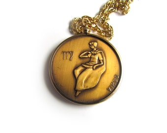 Vintage Zodiac Pendant / Virgo Horoscope Necklace c.1970s